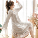 Nightdress Other / other Light blue, light pink M, L Sweet Long sleeves Leisure home Middle-skirt autumn Solid color youth V-neck bow pure cotton