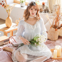 Nightdress Other / other White, blue, purple, pink Average size sexy Long sleeves pajamas longuette spring Solid color youth V-neck viscose  lace Modal gauze