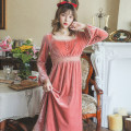 Nightdress Other / other gules M,L,XL sexy Long sleeves Leisure home longuette autumn Solid color youth square neck lace Velvet