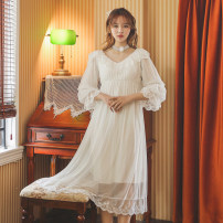 Nightdress Other / other White, blue, purple, pink Average size Sweet Long sleeves pajamas longuette spring Solid color youth V-neck lace Modal fabric