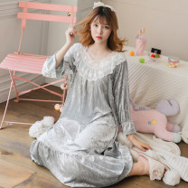 Nightdress Other / other Ice pollen a, ice grey a, ice blue B M, L sexy Long sleeves Leisure home longuette autumn youth Crew neck printing Velvet
