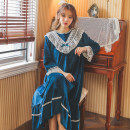 Nightdress Other / other Average size Sweet Long sleeves Leisure home longuette winter Solid color youth Crew neck lace Flannel