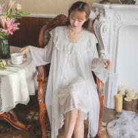 Nightdress Other / other Black, white Average size Sweet Leisure home summer Solid color youth lace Modal fabric JSX8129