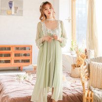 Pajamas / housewear set female Other / other Average size White, green, pink viscose  Long sleeves sexy pajamas spring Thin money Solid color Tether youth 2 pieces Modal + lace mesh lace Middle-skirt