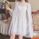 Pajamas / housewear set female Other / other M, L White, black nylon sexy Leisure home summer Thin money One word collar Solid color Tether youth 2 pieces Lace fabric lace Short skirt