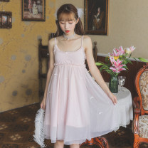 Nightdress Other / other Average size Sweet camisole Leisure home Short skirt summer Solid color youth V-neck Modal fabric
