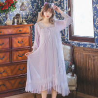 Nightdress Other / other White, blue, purple, pink Average size Sweet Long sleeves pajamas longuette spring Solid color youth V-neck lace Modal + mesh