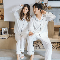 Pajamas / housewear set female Other / other M,L,XL,XXL White women's suit, white men's suit, navy men's suit, Denim Blue Women's suit, denim blue men's suit, gray women's suit, gray men's suit cotton Long sleeves Simplicity pajamas autumn routine Shirt collar Solid color trousers Front buckle youth