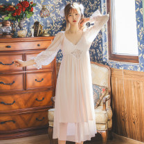Nightdress Other / other White, pink Average size sexy Long sleeves pajamas longuette spring Solid color V-neck lace Modal + lace mesh