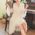 Pajamas / housewear set female Other / other M, L White, pink viscose  Long sleeves sexy pajamas spring Thin money V-neck Solid color Oblique lapel youth 2 pieces Modal + lace mesh lace Middle-skirt