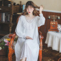 Nightdress Other / other white M, L sexy Long sleeves Leisure home longuette autumn Solid color youth V-neck lace Lace mesh