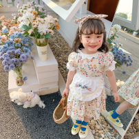 Dress Floral skirt + Bib female Other / other 80cm,90cm,100cm,110cm,120cm Cotton 100% summer princess Short sleeve Broken flowers cotton Princess Dress 21qz714 Class B 12 months, 9 months, 18 months, 2 years old, 3 years old, 4 years old, 5 years old, 6 years old, 7 years old Chinese Mainland