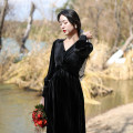 Dress Winter 2020 black XS,S,M,L,XL Mid length dress singleton  Long sleeves commute V-neck High waist other Others Type A Chicory Retro