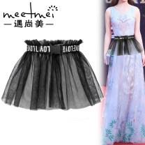 Belt / belt / chain cloth White black female Waistband Sweet Single loop Youth Automatic buckle Geometric pattern soft surface 26cm Meetmei / Yu Shangmei Summer 2020 no