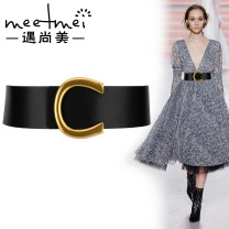 Belt / belt / chain Double skin leather female Waistband grace Single loop Middle aged youth Smooth button Geometric pattern soft surface 5.5cm alloy Meetmei / Yu Shangmei 95cm 100cm 105cm Autumn 2020 no