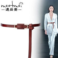 Belt / belt / chain top layer leather female belt grace Single lap Youth, middle age and old age Smooth button Geometric pattern soft surface alloy 1.2cm Meetmei / Yu Shangmei YZ469 Summer 2020 no
