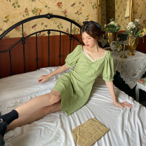 Dress Summer 2020 Matcha green S, M Mid length dress elbow sleeve Sweet square neck High waist Solid color A-line skirt puff sleeve 18-24 years old Type A Other / other Pleated, agaric Matcha star More than 95% cotton