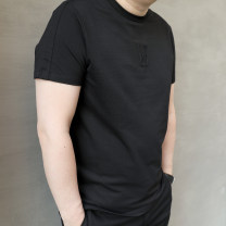 T-shirt Fashion City black routine 2XL 3XL 4XL 5XL Daevu / Dayi Short sleeve Crew neck standard Other leisure summer Cotton 83% polyester 14% others 3% Large size routine Summer of 2018 Solid color