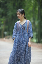 Dress Summer 2021 Broken flowers with blue background Average size Mid length dress singleton  elbow sleeve commute V-neck Decor zipper A-line skirt routine 30-34 years old Type A Retro Lace up, printed More than 95% hemp