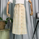 skirt Summer of 2018 Average size Apricot Mid length dress fresh High waist A-line skirt lattice Type A 18-24 years old forty-seven thousand eight hundred and forty-seven 31% (inclusive) - 50% (inclusive) other other