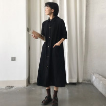 Dress Summer of 2018 Black, apricot Average size longuette singleton  Short sleeve commute Polo collar Loose waist Solid color Single breasted A-line skirt routine 18-24 years old Type A See baby's description Korean version See baby's description