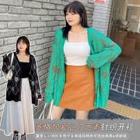 Women's large Spring 2021 Green, black XL (about 110-145 kg recommended), 2XL (about 140-175 kg recommended), 3XL (about 170-210 kg recommended) Knitwear / cardigan singleton  Sweet easy moderate Cardigan Long sleeves lattice V-neck routine routine Other / other 25-29 years old Button Three buttons