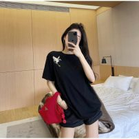 T-shirt White, red, black Average size Spring 2021 Short sleeve Crew neck easy Regular routine commute other 96% and above 18-24 years old Korean version Solid color GW-LK36626