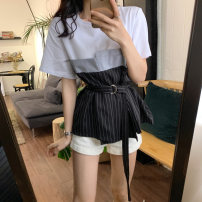 T-shirt Top white, bottom black, top black, bottom white, top gray, bottom black Average size Spring 2021 Short sleeve Crew neck easy Regular routine commute cotton 96% and above 18-24 years old Korean version Color matching GW-NW055