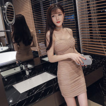 Dress Summer 2021 khaki S,M,L Short skirt V-neck Solid color One pace skirt camisole 18-24 years old