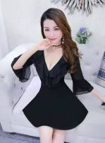 Dress Spring 2021 White, black, red S,M,L,XL Short skirt singleton  Long sleeves commute V-neck High waist Solid color Socket A-line skirt pagoda sleeve 25-29 years old Type A Lotus leaf edge polyester fiber