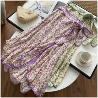skirt Summer 2020 S, M Purple, green Mid length dress Versatile High waist Decor 18-24 years old 31% (inclusive) - 50% (inclusive) Chiffon polyester fiber