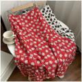 skirt Summer 2020 S, M Red, white Mid length dress Versatile High waist Irregular Decor Type A 18-24 years old 30% and below polyester fiber