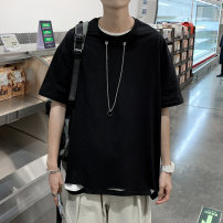 T-shirt Youth fashion Black (with necklace), white (with necklace), black T + blue pants, black T + grey pants, white T + blue pants, white T + grey pants routine Collection priority, s, m, l, XL, 2XL, 3XL Mr. Sen elbow sleeve Crew neck easy Other leisure summer Chaobao y36 Other 100% teenagers tide