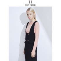 Dress Autumn of 2019 black 155/80A/S 160/84A/M 165/88A/L 170/92A/XL Mid length dress singleton  Sleeveless street other High waist Solid color double-breasted Irregular skirt other straps 25-29 years old Type H I say I do / AO Si Du Strap button 183C122870 More than 95% other polyester fiber