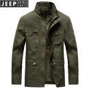 Jacket Jeep / Jeep Fashion City Army green, khaki, sapphire M,L,XL,2XL,3XL easy Other leisure autumn JSOLM18SA608JC0047 Cotton 100% Long sleeves Wear out stand collar Military brigade of tooling middle age routine Zipper placket 2018 Cloth hem washing Loose cuff Solid color More than two bags) cotton
