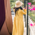 Dress Spring of 2019 yellow Average size Mid length dress singleton  Long sleeves commute stand collar High waist stripe Single breasted Big swing routine Others Type A She fancy dancing / he Fansi ethnic style Pocket, button 31% (inclusive) - 50% (inclusive) hemp