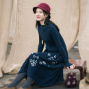 Dress Winter of 2018 Sparrow green S,M,L longuette singleton  Long sleeves commute Half high collar middle-waisted Hand painted Socket Big swing routine Others Type X She fancy dancing / he Fansi Retro More than 95% cotton