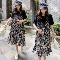 Dress Spring 2021 black L [100-120 Jin recommended], XL [120-140 Jin recommended], 2XL [140-160 Jin recommended], 3XL [160-180 Jin recommended], 4XL [180-200 Jin recommended] longuette Two piece set Short sleeve Crew neck Loose waist Decor Socket routine 18-24 years old Type A printing