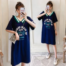 Women's large Summer 2020 Navy Blue Large size L (100-120 Jin recommended), large XL (120-140 Jin recommended), large 2XL (140-160 Jin recommended), large 3XL (160-180 Jin recommended), large 4XL (180-200 Jin recommended) Dress singleton  commute easy thin Socket Short sleeve letter Korean version