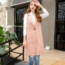Vest Spring of 2018 Pink Beige M L XL Medium length tailored collar Solid color A button I-shaped Domin Polly 81% (inclusive) - 90% (inclusive) polyester fiber Pocket line decoration Polyethylene terephthalate (PET) 90% polyurethane elastic fiber (spandex) 10% Pure e-commerce (online only)