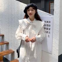 Dress Autumn 2020 White, black Average size Middle-skirt singleton  Long sleeves commute Doll Collar Loose waist Solid color Single breasted Princess Dress routine Others 18-24 years old Type H Other / other Korean version Lotus leaf edge 81% (inclusive) - 90% (inclusive) other polyester fiber