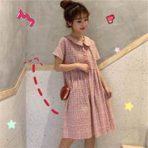 Dress Summer of 2019 Picture color Average size Mid length dress singleton  Short sleeve Sweet Doll Collar High waist lattice Single breasted A-line skirt routine 18-24 years old Type A solar system