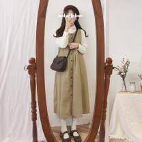 Dress Spring of 2019 Average size Mid length dress Two piece set Long sleeves commute Loose waist A-line skirt routine 18-24 years old Type A Other / other Korean version 31% (inclusive) - 50% (inclusive)