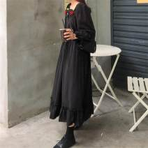 Dress Autumn of 2019 White, black Average size Mid length dress singleton  Long sleeves commute square neck High waist Solid color Socket Ruffle Skirt other Others 18-24 years old Type A Other / other Korean version Lotus leaf edge 3016#
