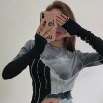T-shirt Picture color Average size Winter 2020 Long sleeves Crew neck Self cultivation have cash less than that is registered in the accounts routine commute other 30% and below 18-24 years old Korean version Color matching, splicing, gradient Asymmetric, tie dyed, stitched