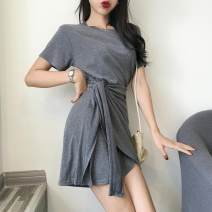 Dress Spring of 2019 Black, red, grey Average size Short skirt singleton  Short sleeve commute Crew neck High waist Solid color Socket Irregular skirt routine 18-24 years old Korean version Asymmetric, bandage Three point two 51% (inclusive) - 70% (inclusive) cotton