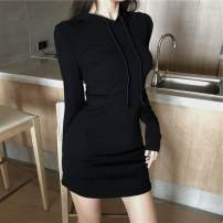 Dress Autumn of 2018 Black, pink Average size Middle-skirt singleton  Long sleeves commute Hood High waist Solid color Socket routine 18-24 years old Korean version other
