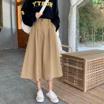 skirt Autumn of 2019 S,M,L Black, gray, khaki Mid length dress commute High waist A-line skirt Solid color Type A 18-24 years old Korean version