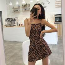 Dress Summer of 2018 Leopard Print S, M Middle-skirt singleton  Sleeveless commute square neck High waist Leopard Print Socket A-line skirt camisole 18-24 years old Type A Other / other Korean version