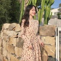 Dress Spring 2020 Floral Dress Average size Mid length dress singleton  Long sleeves commute stand collar High waist Broken flowers Single breasted A-line skirt pagoda sleeve 18-24 years old Type A Retro